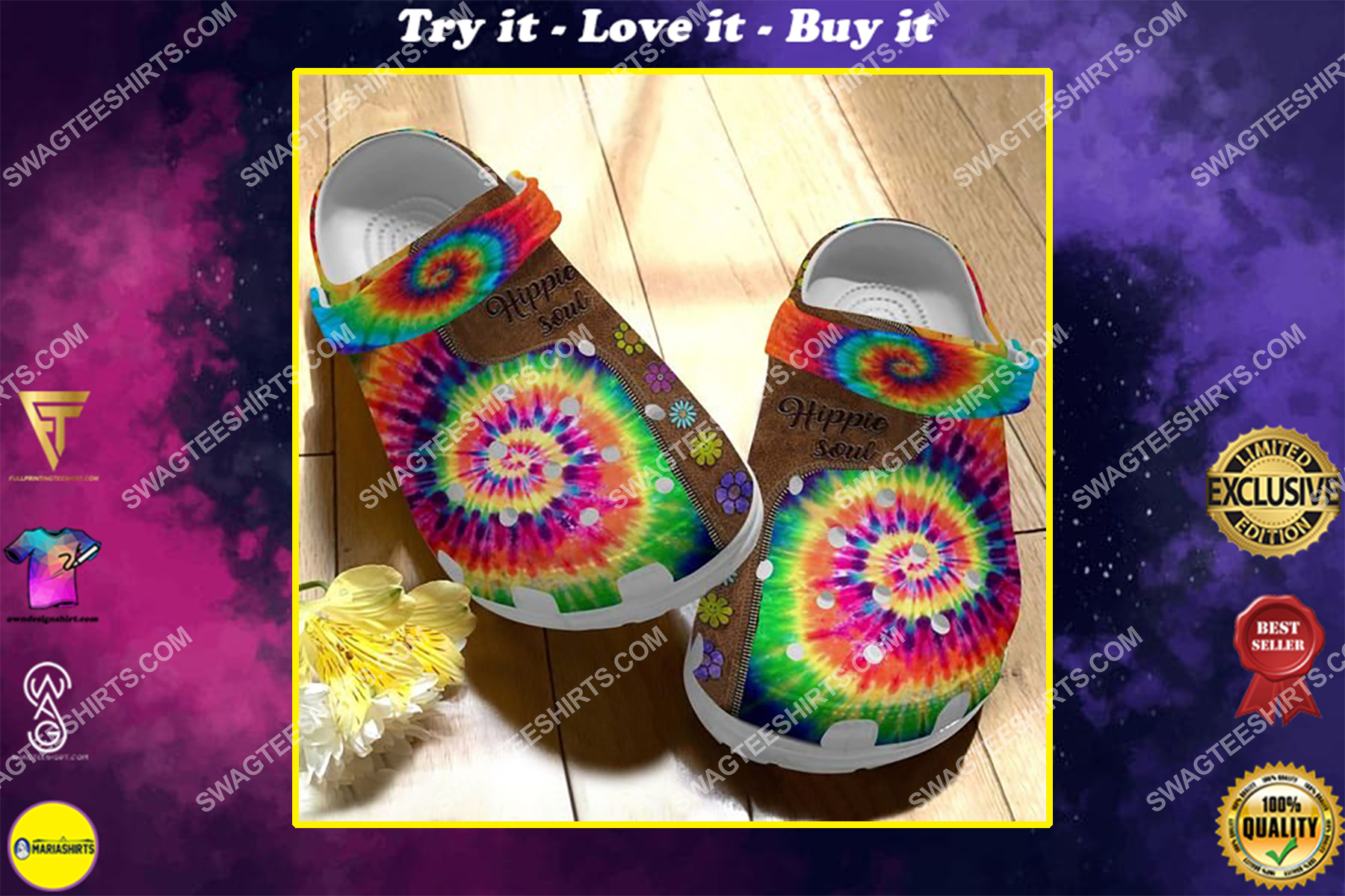 hippie tie dye colorful all over printed crocs
