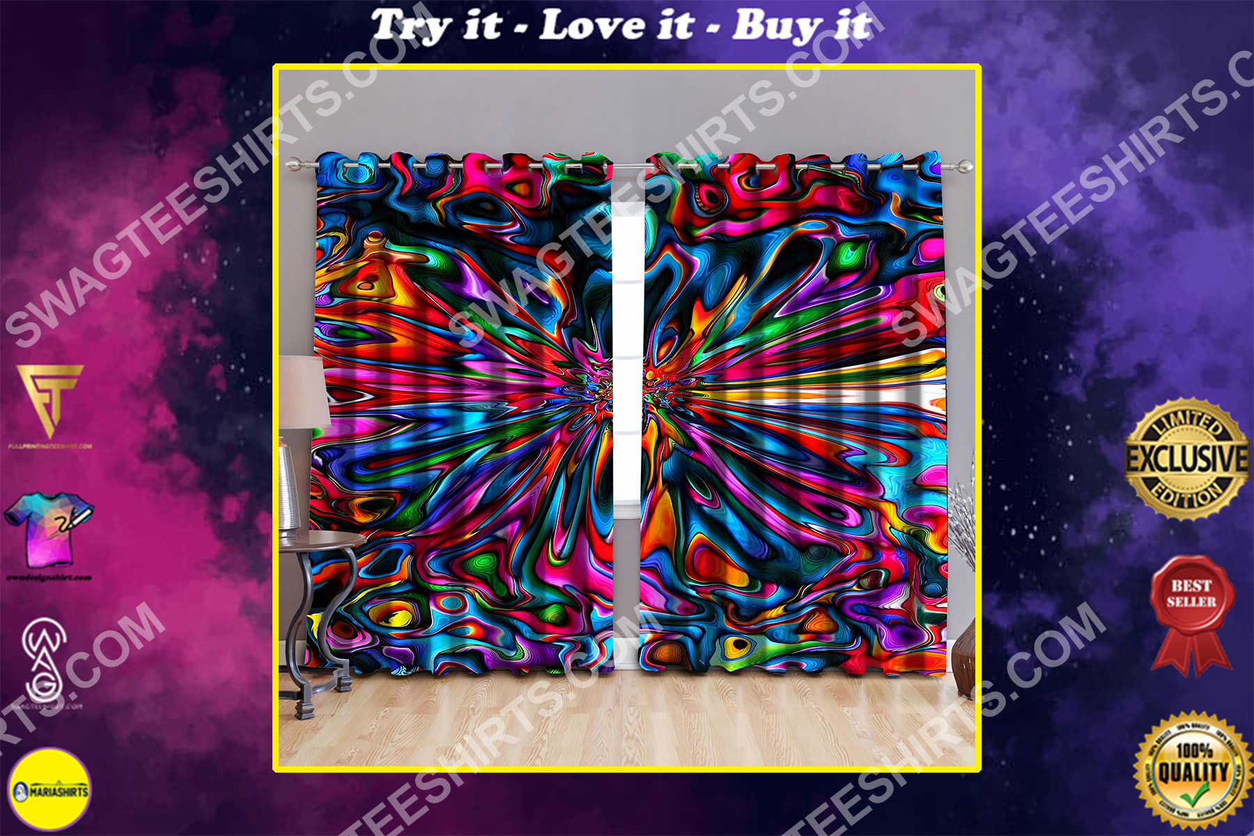 hippie tie dye colorful all over printed window curtains