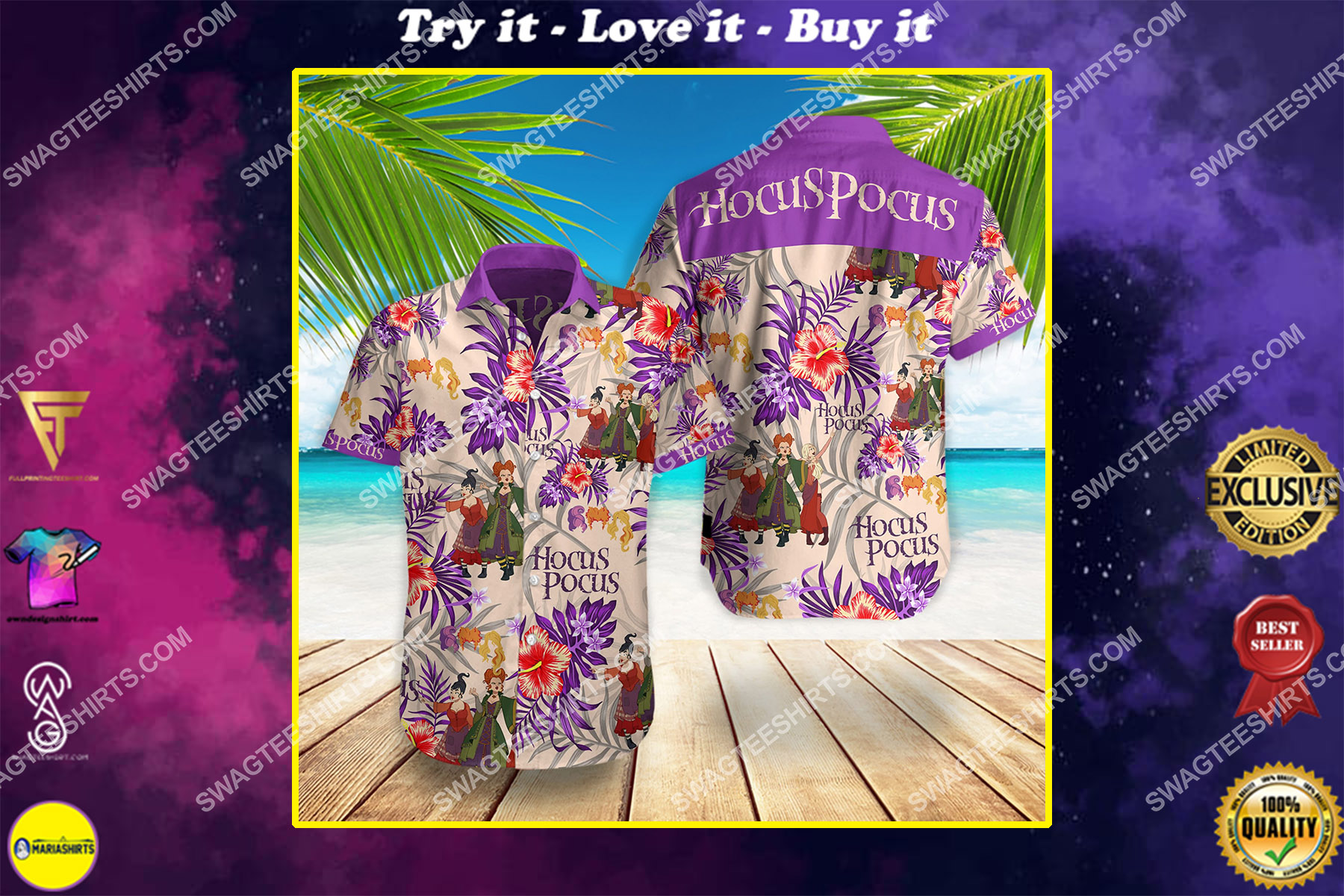 hocus pocus movie all over print hawaiian shirt
