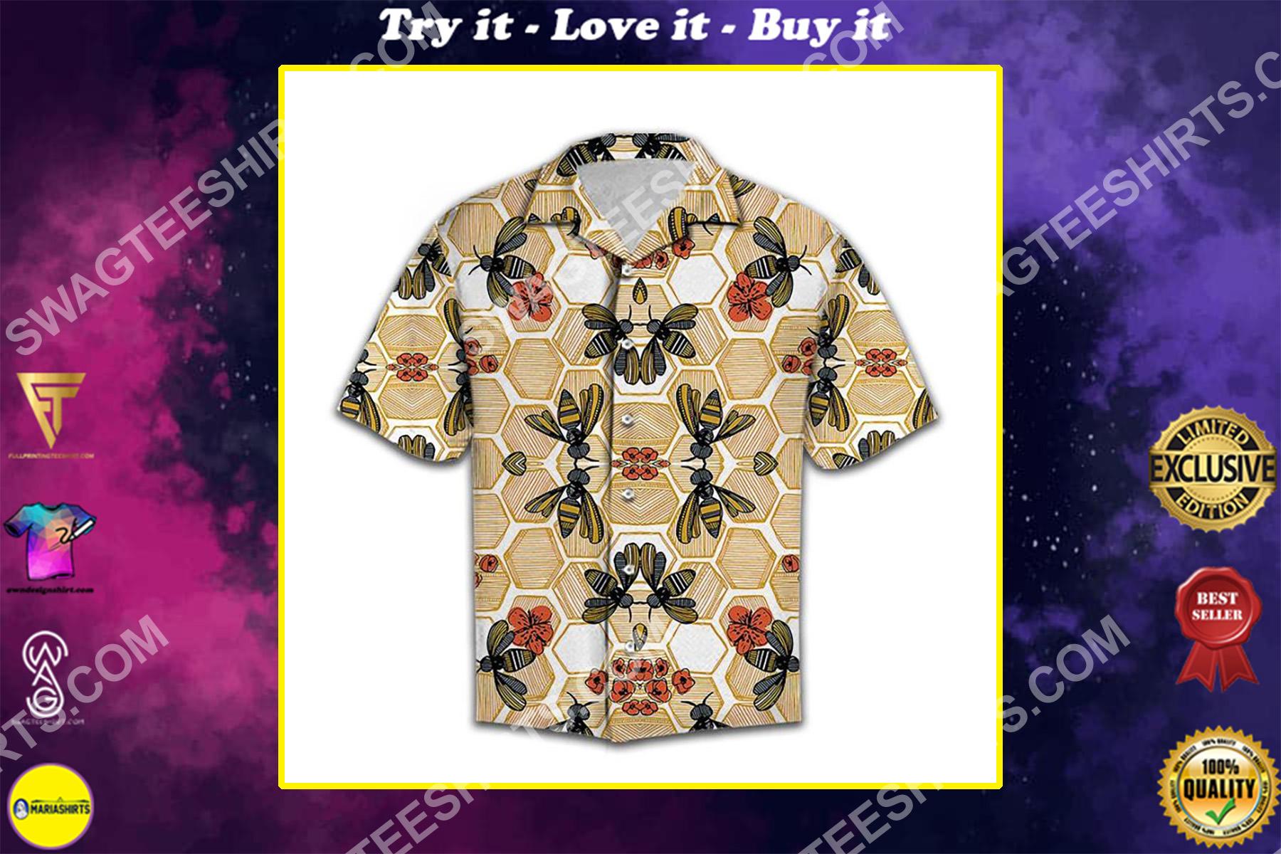 honey bee lover all over printed hawaiian shirt