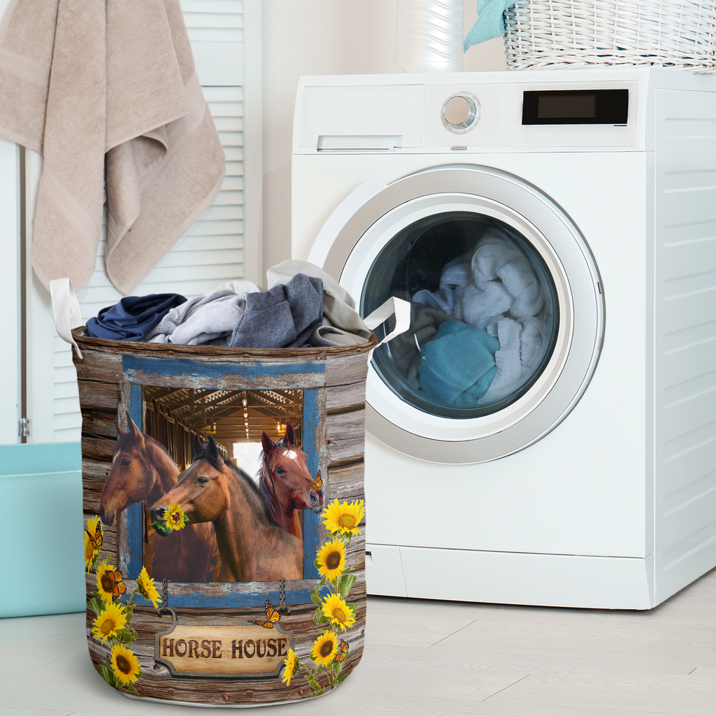 horse house all over printed laundry basket 2