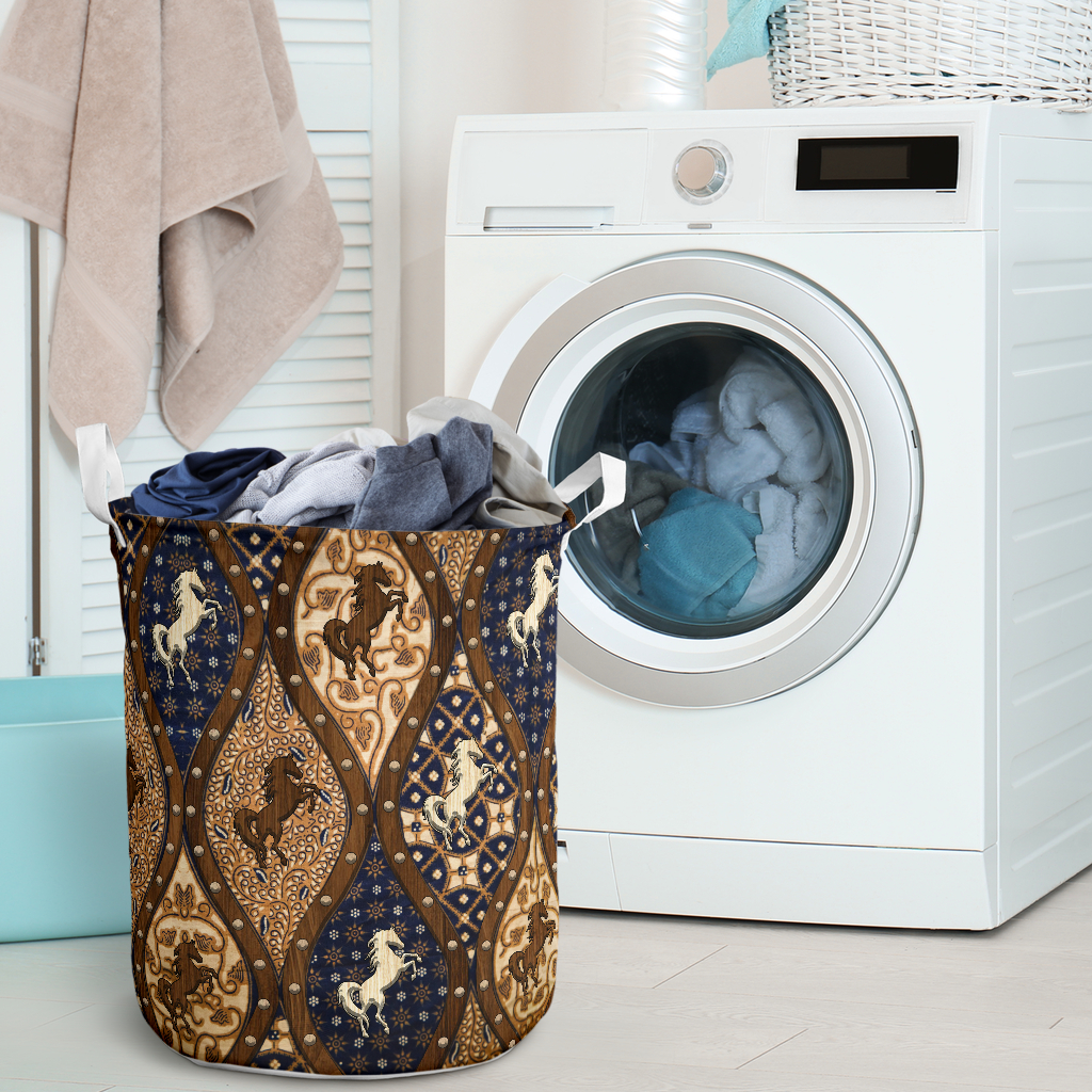 horse wood border all over printed laundry basket 2