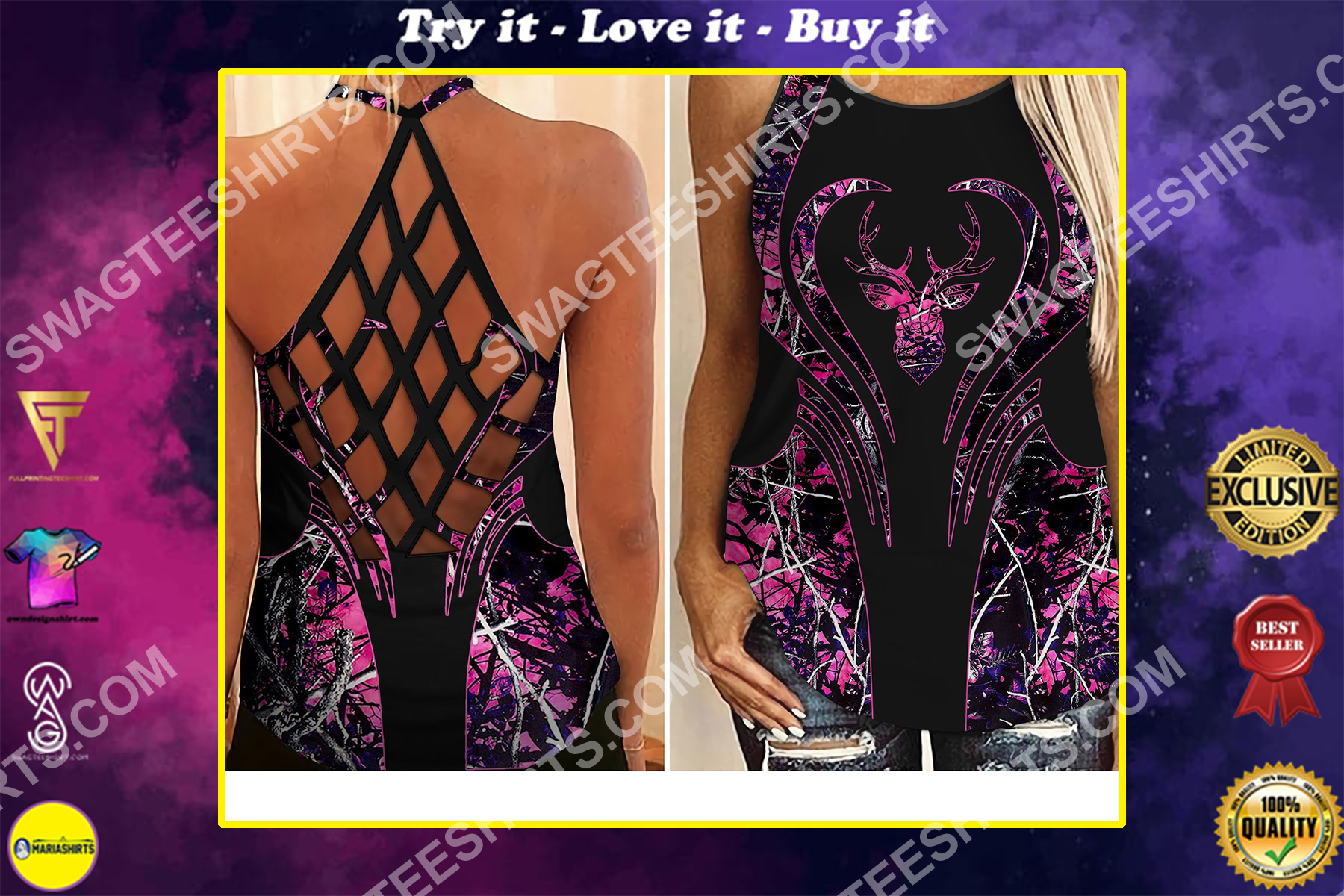 hunting girl camo heart all over printed strappy back tank top