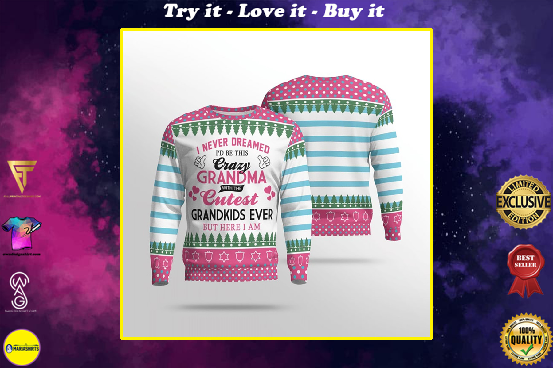 i never dreamed id be this crazy grandma with the cutest grandkids ever full printing sweater