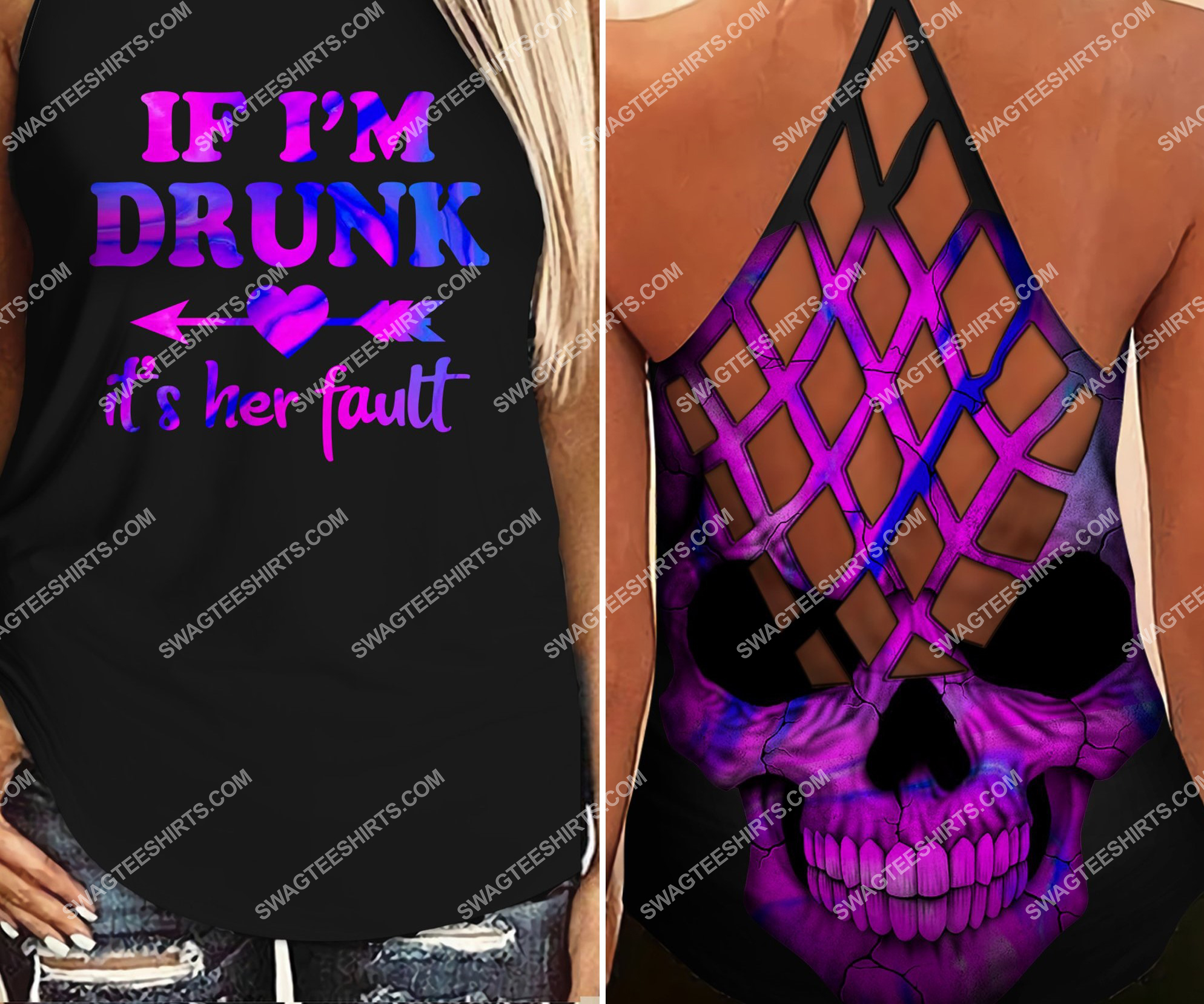 if i'm drunk it's her fault all over printed strappy back tank top 2