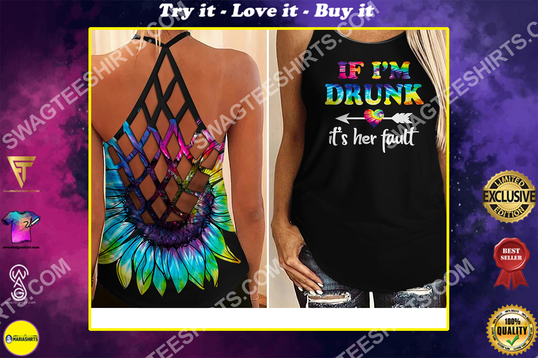 if i'm drunk it's her fault hippie all over printed strappy back tank top