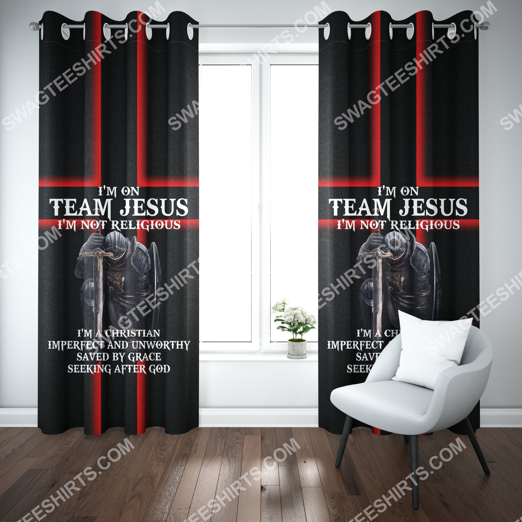 i'm on team Jesus i'm not religious all over printed window curtains 2(1)