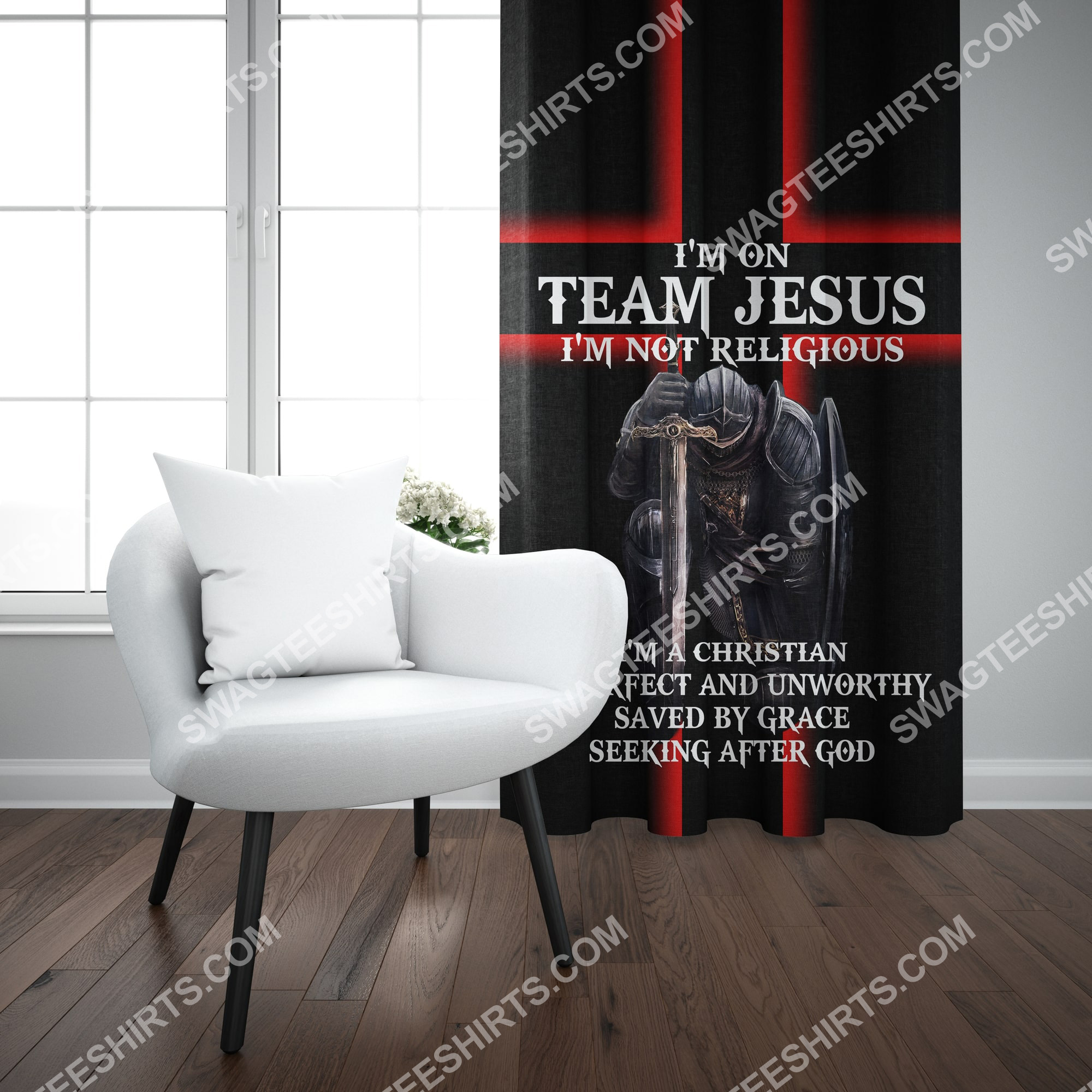 i'm on team Jesus i'm not religious all over printed window curtains 3(1)
