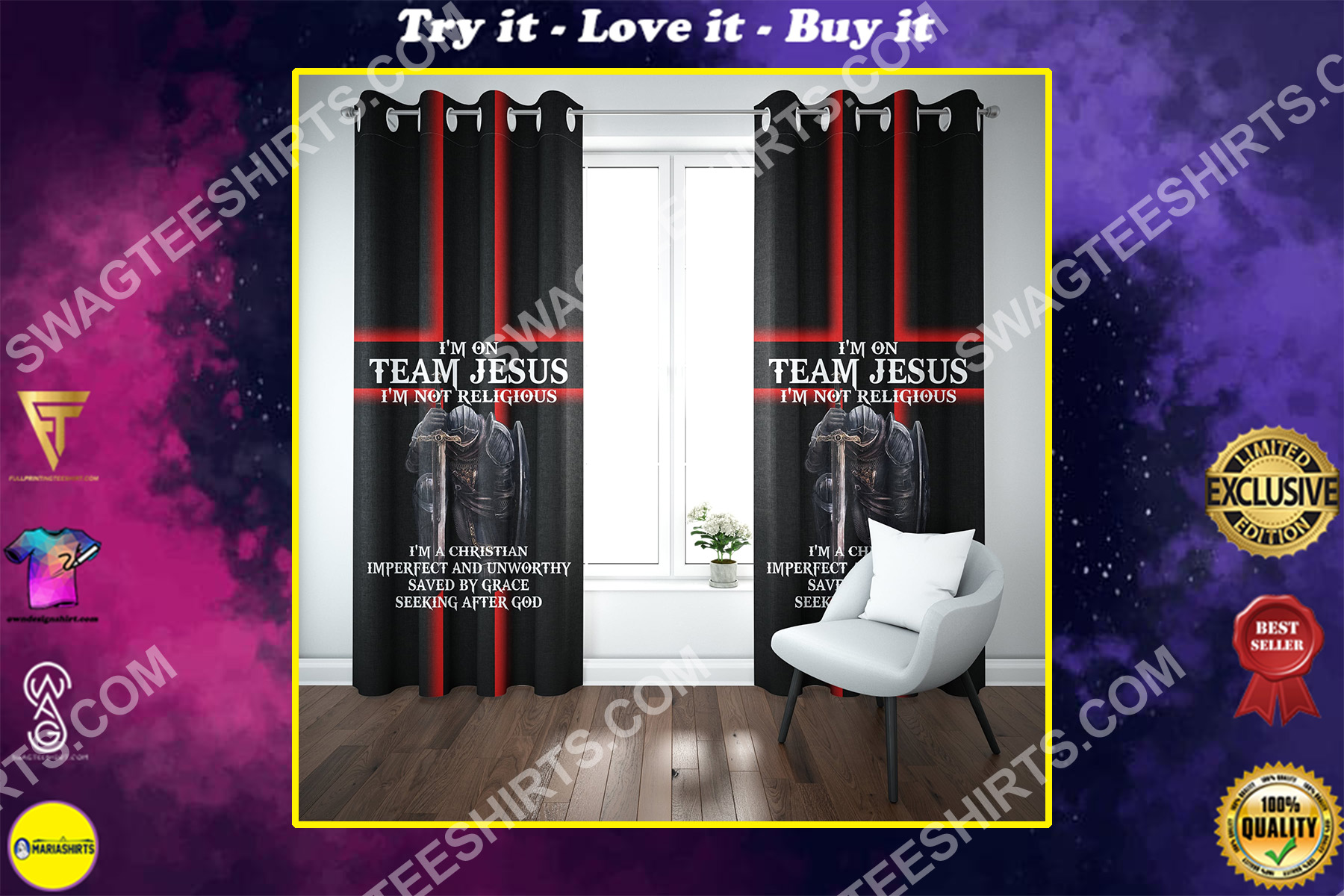 i'm on team Jesus i'm not religious all over printed window curtains