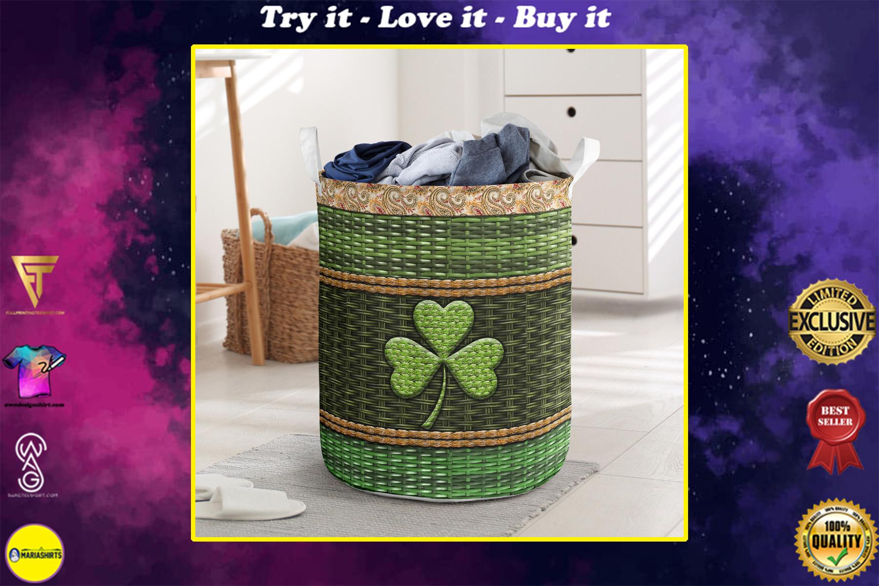 irish wood border all over printed laundry basket