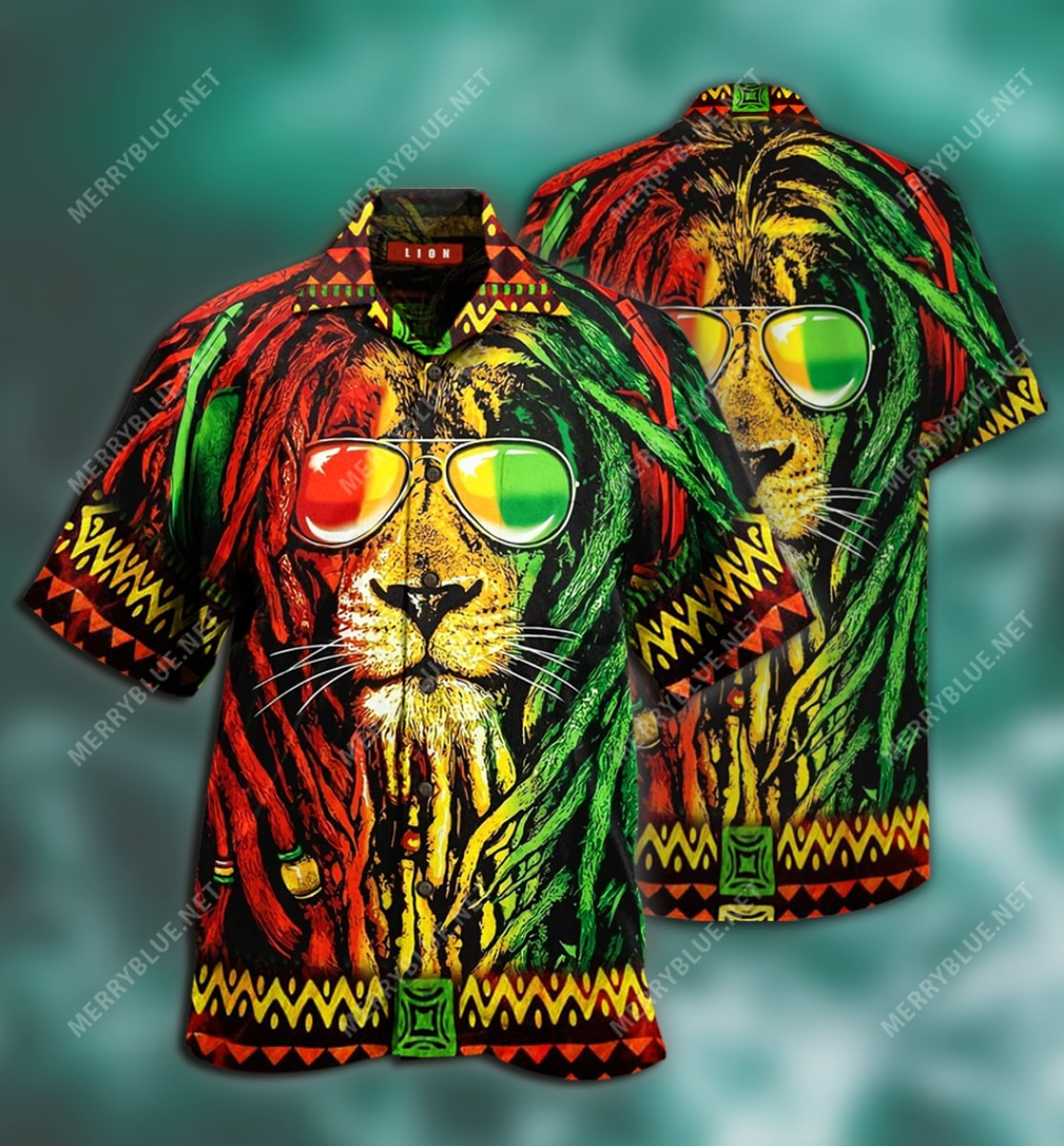 jamaica lion tropical all over printed hawaiian shirt 2