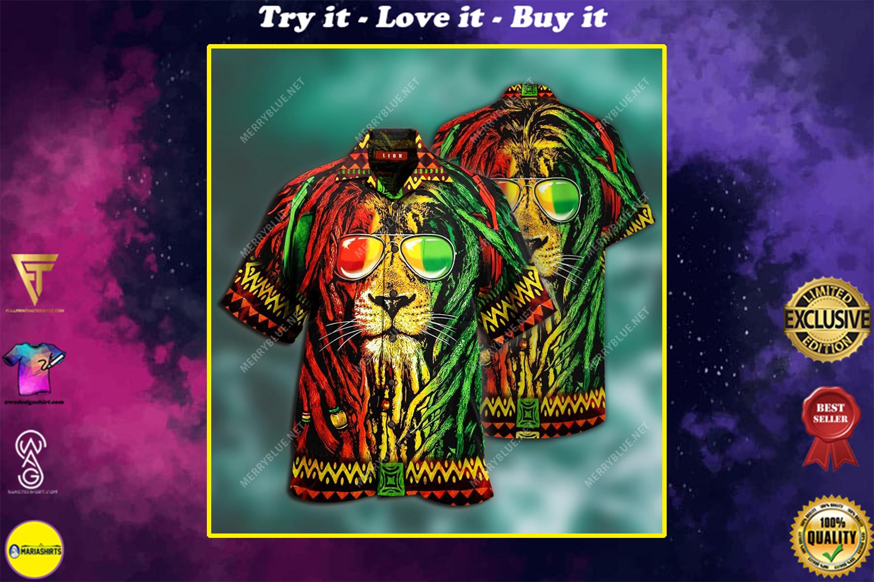jamaica lion tropical all over printed hawaiian shirt