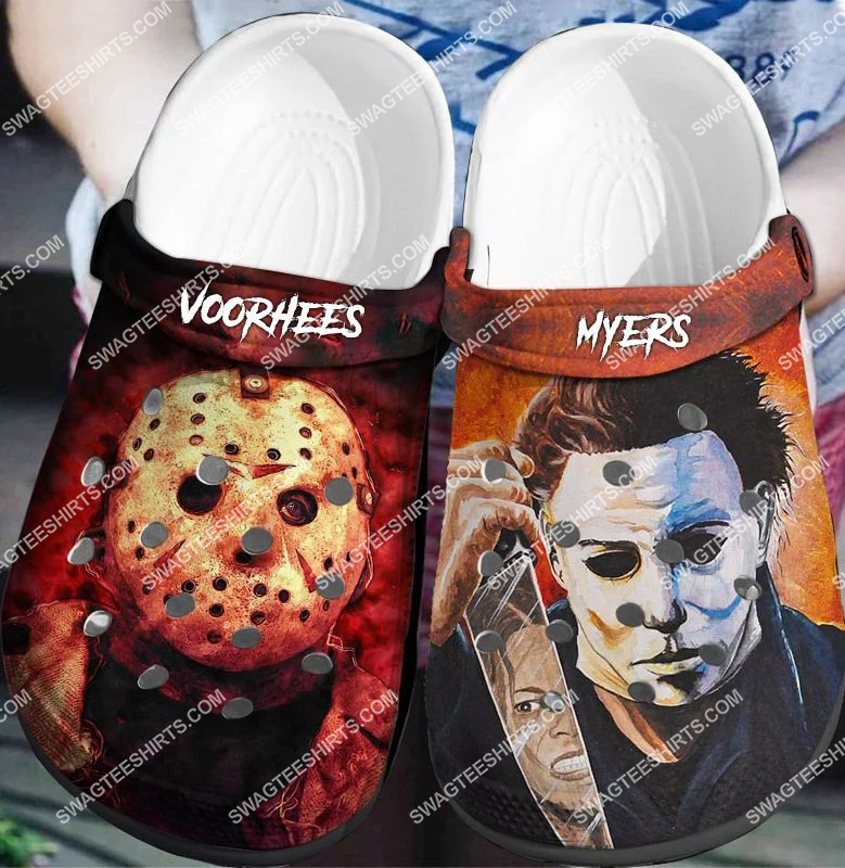 jason voorhees and michael myer all over printed crocs crocband clog 2