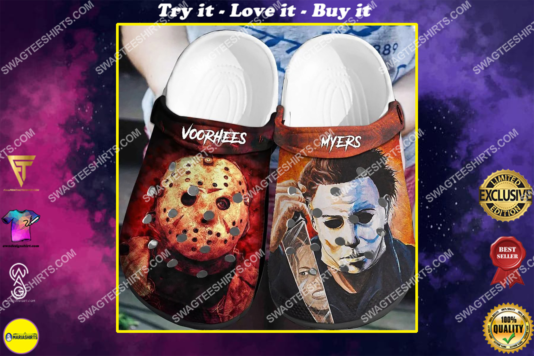 jason voorhees and michael myer all over printed crocs crocband clog