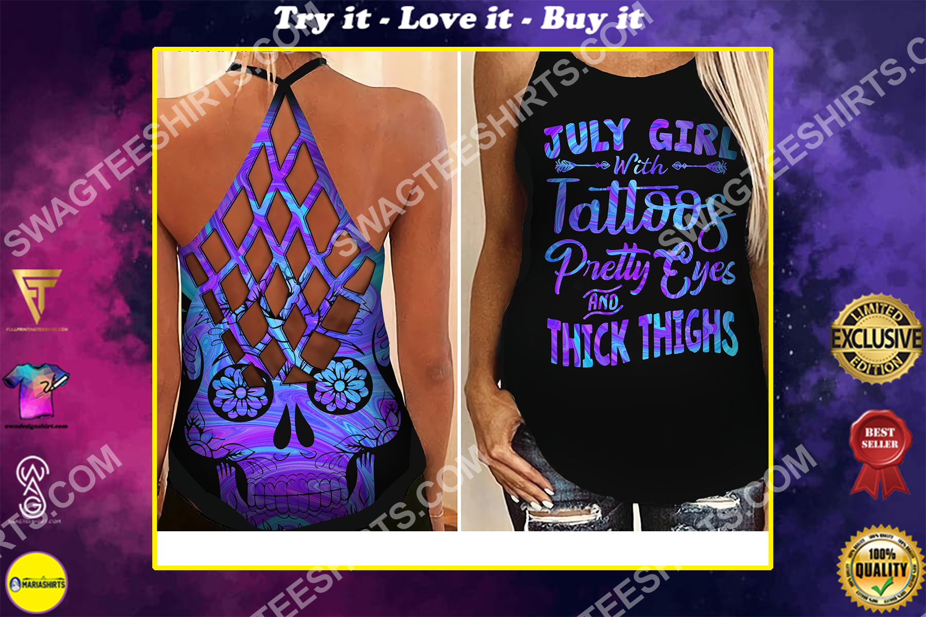 july girl with tattoos all over printed strappy back tank top