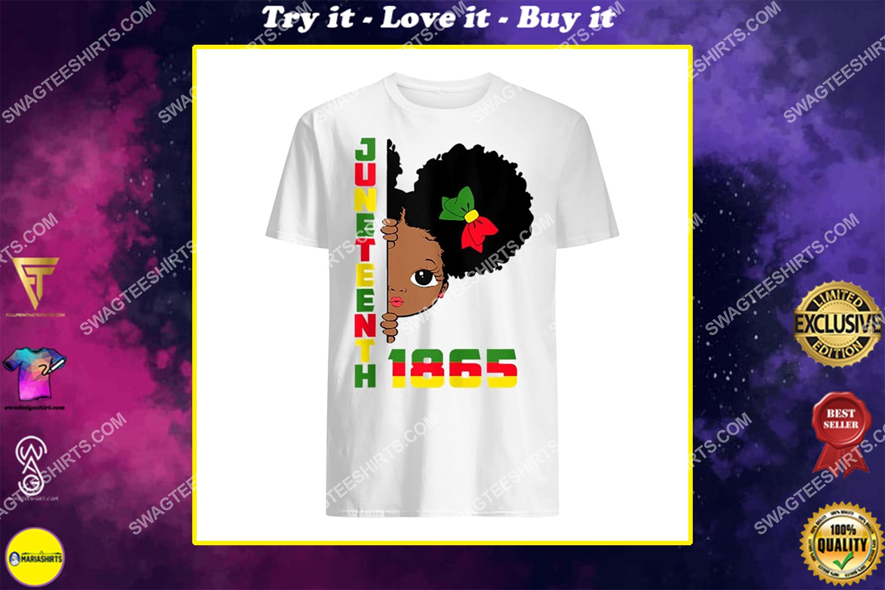juneteenth celebrating 1865 cute black girls black lives matter shirt