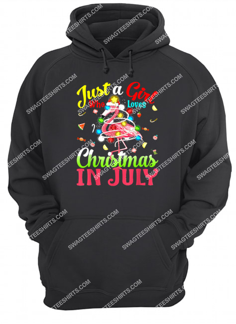just a girl who loves christmas in july flamingo hoodie 1