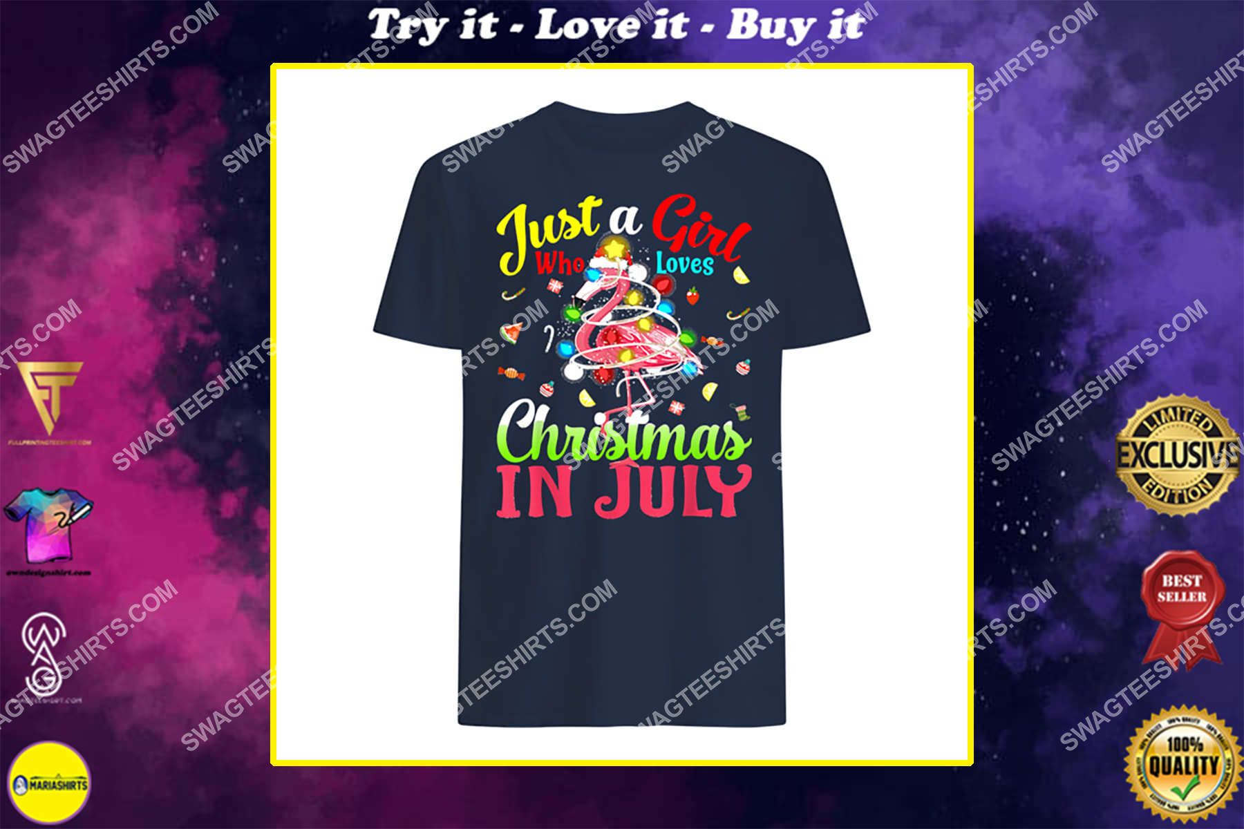 just a girl who loves christmas in july flamingo shirt