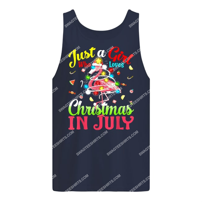 just a girl who loves christmas in july flamingo tank top 1