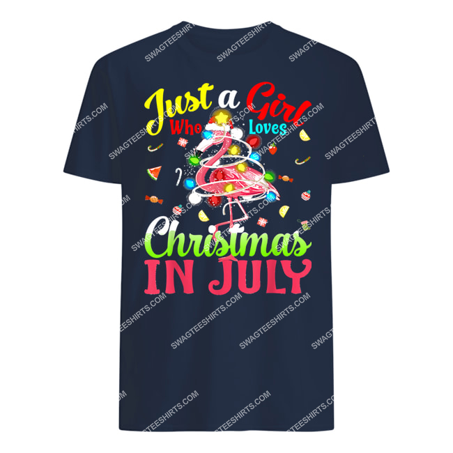just a girl who loves christmas in july flamingo tshirt 1