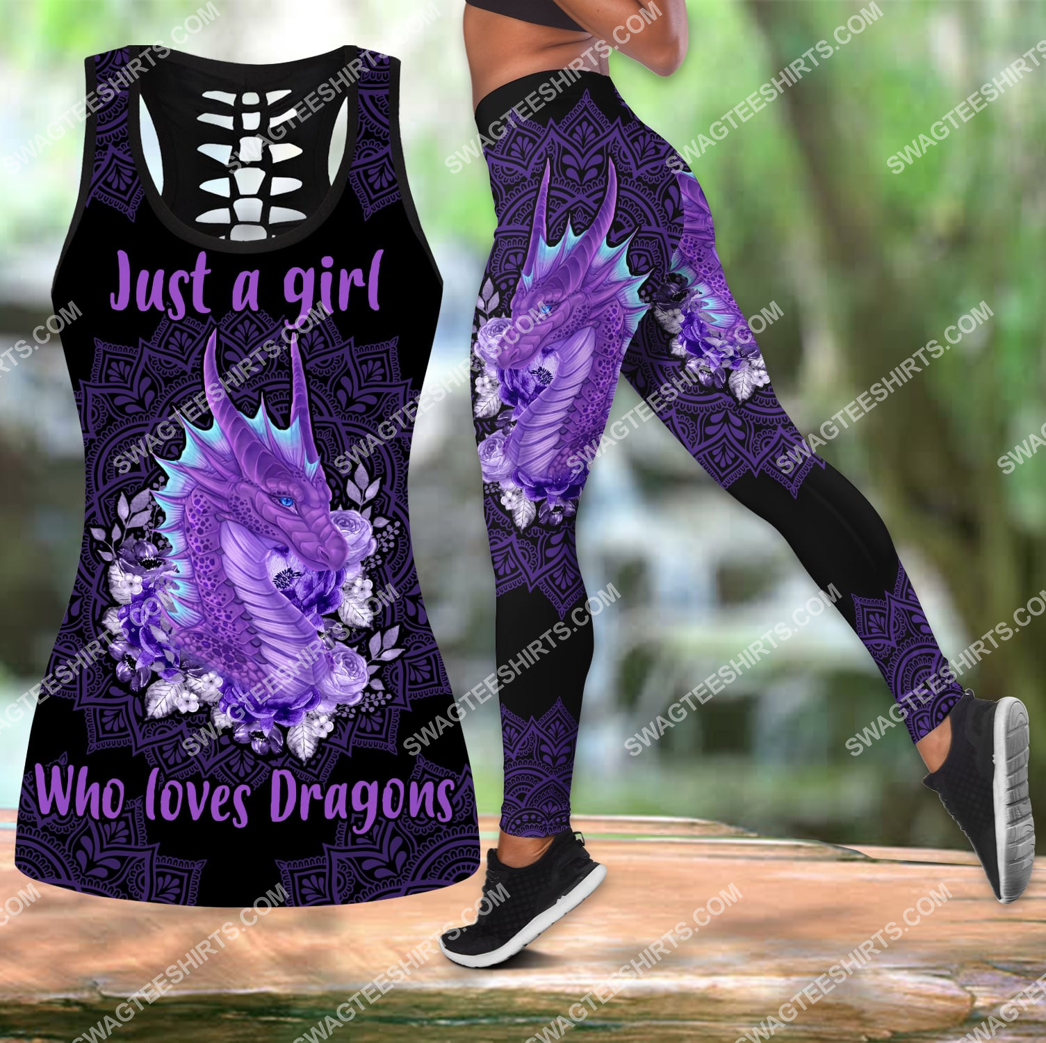 just a girl who loves dragons all over printed set sports outfit 3 - Copy (2)