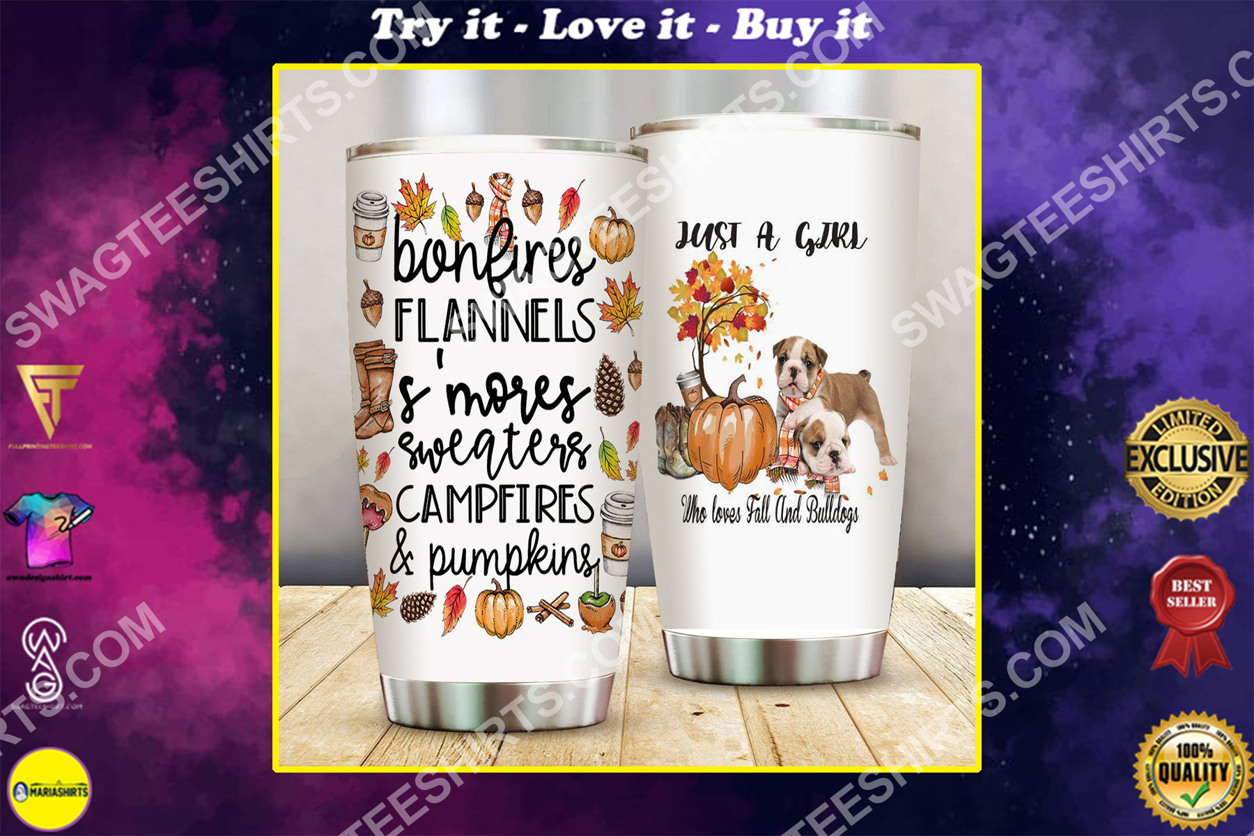 just a girl who loves fall and bulldogs pumpkin all over printed stainless steel tumbler