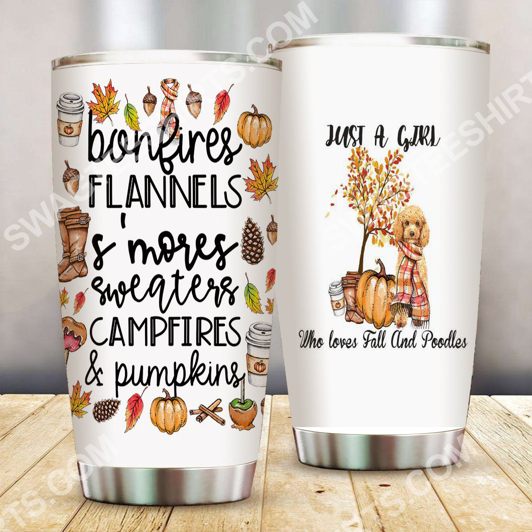 just a girl who loves fall and poodles all over printed stainless steel tumbler 2(1)
