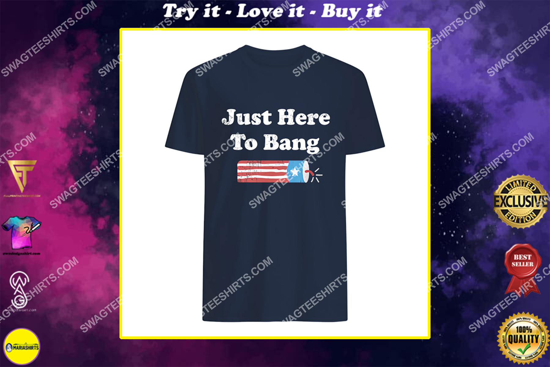 just here to bang happy independence day shirt