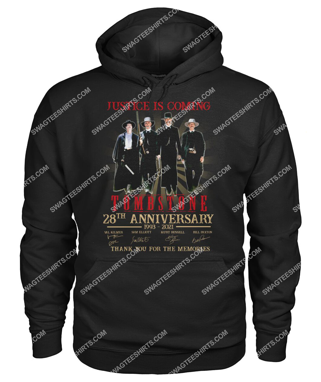 justice is coming tombstone 28th anniversary thank you for the memories hoodie 1
