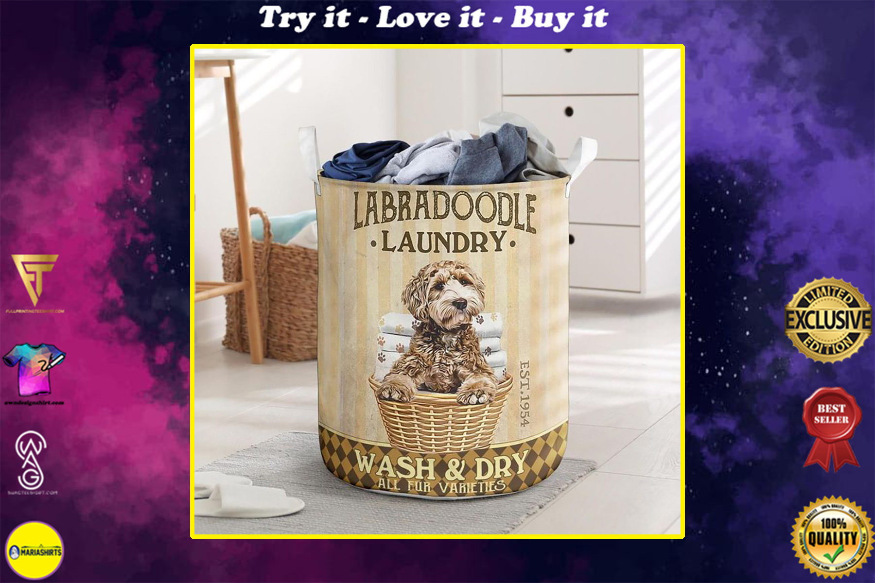 labradoodle dog all over printed laundry basket