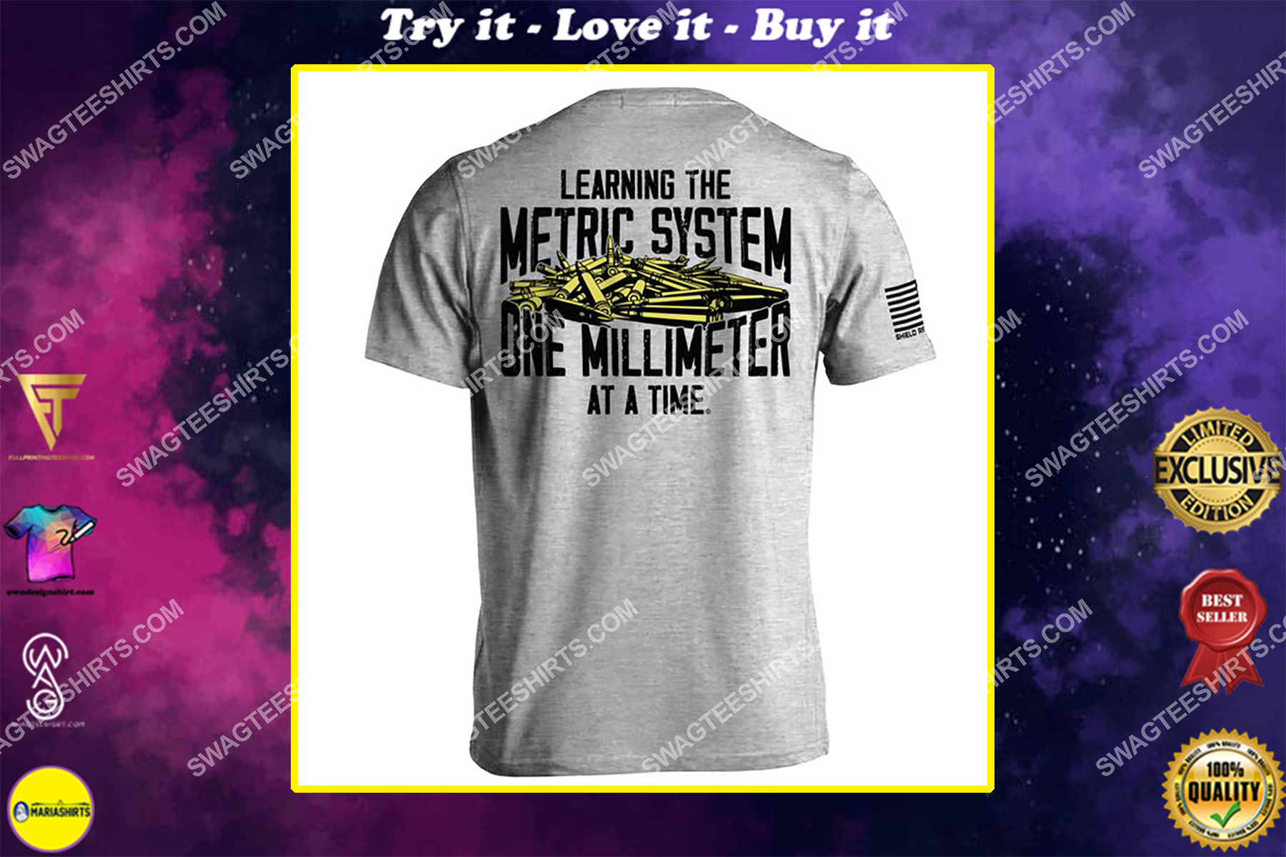 learning the metric system one millimeter at a time gun control political shirt