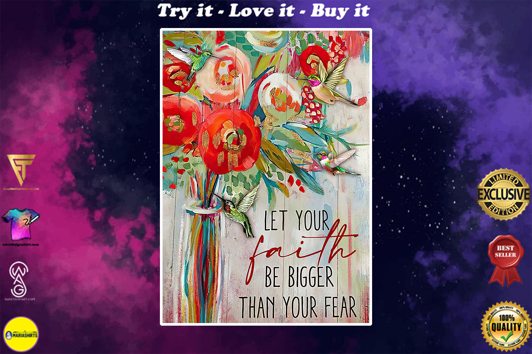 let your faith be bigger than your fear watercolor poster