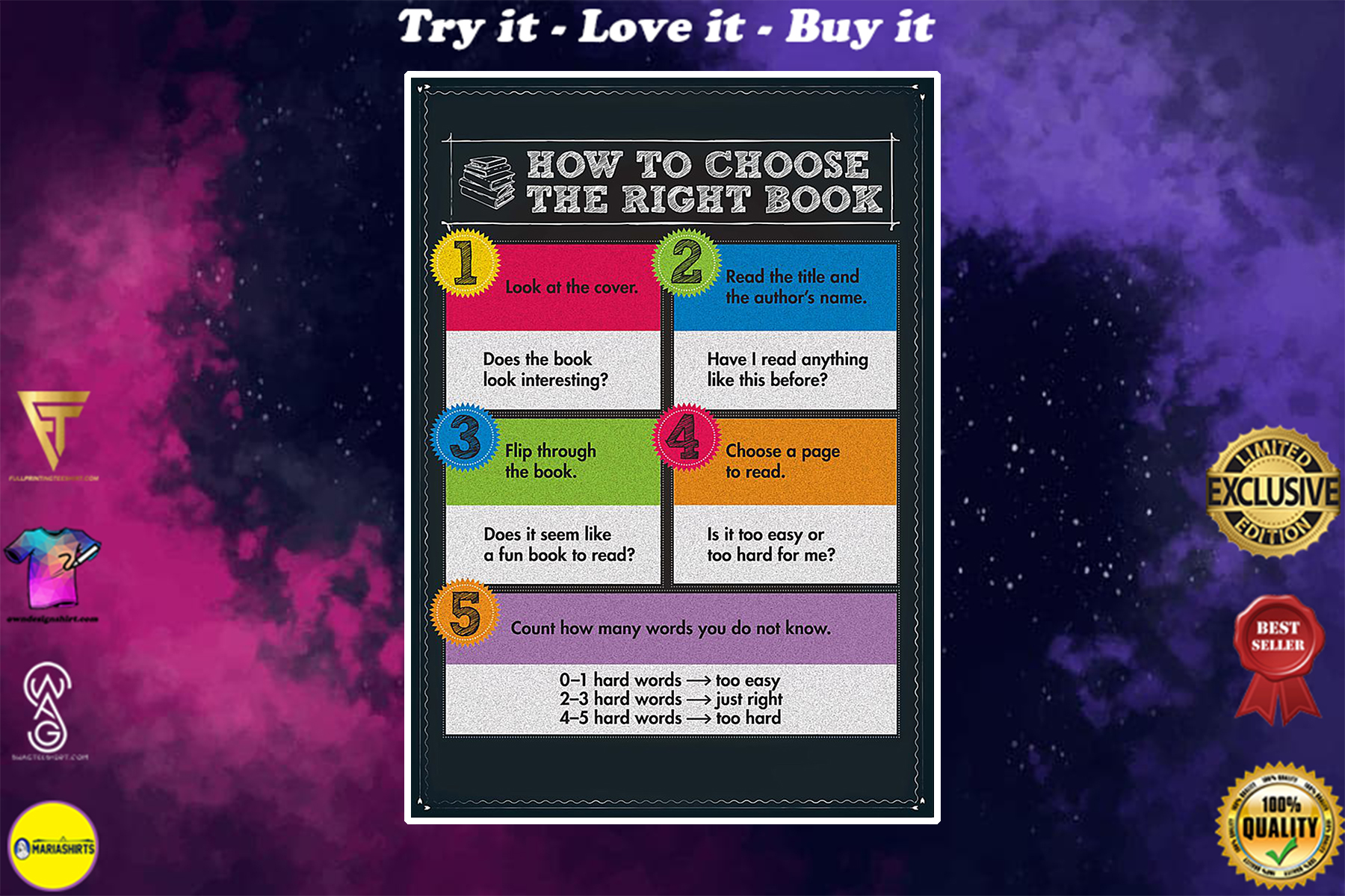 librarian how to choose the right book poster