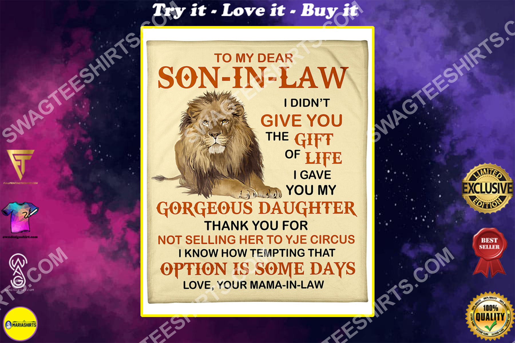 lion to my dear son-in-law love your mother-in-law blanket