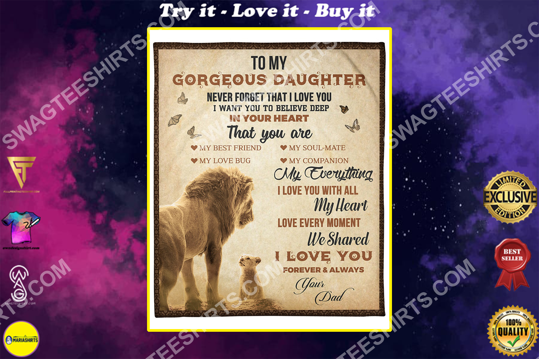 lion to my gorgeous daughter i love you your dad blanket