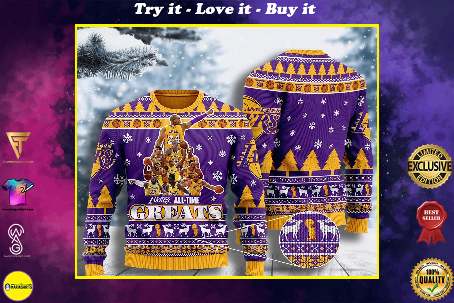 los angeles lakers all-time greats ugly christmas sweater
