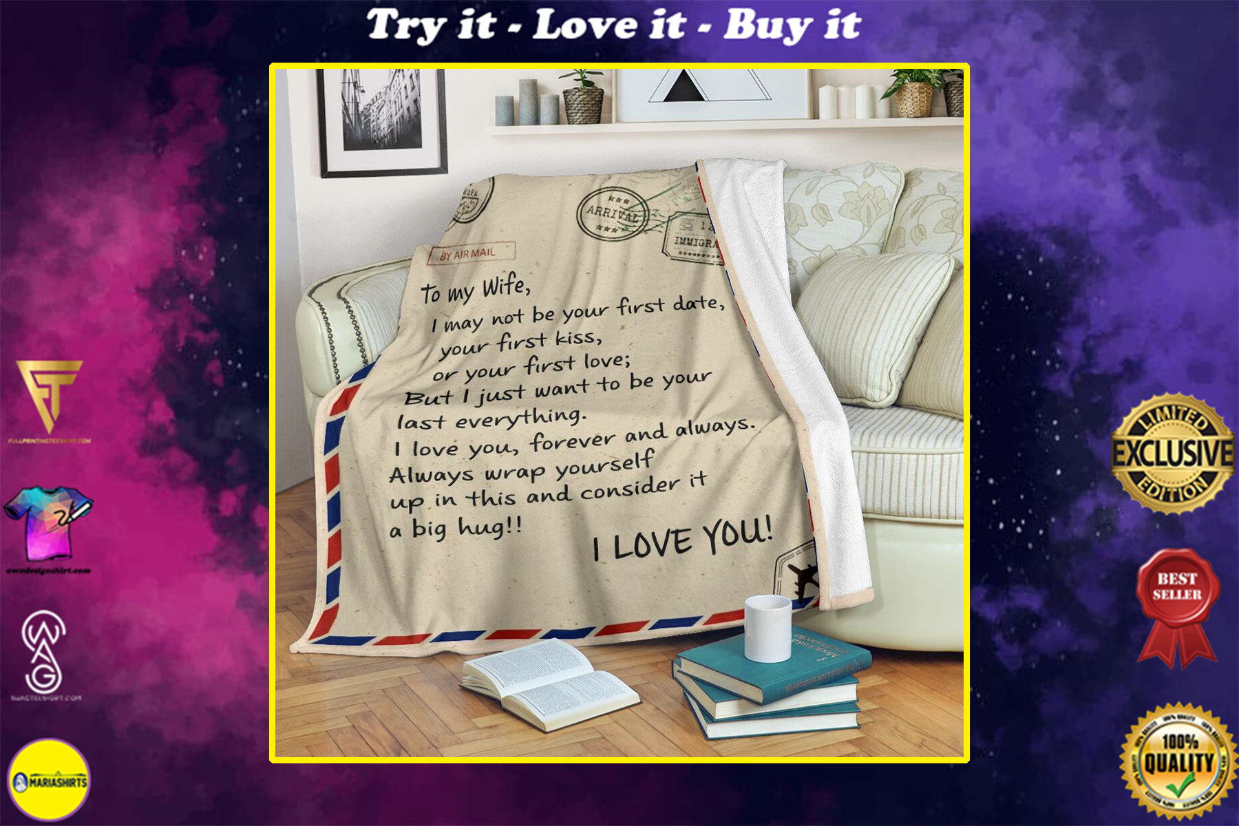 love air mail to my wife i love you forever and always full printing blanket