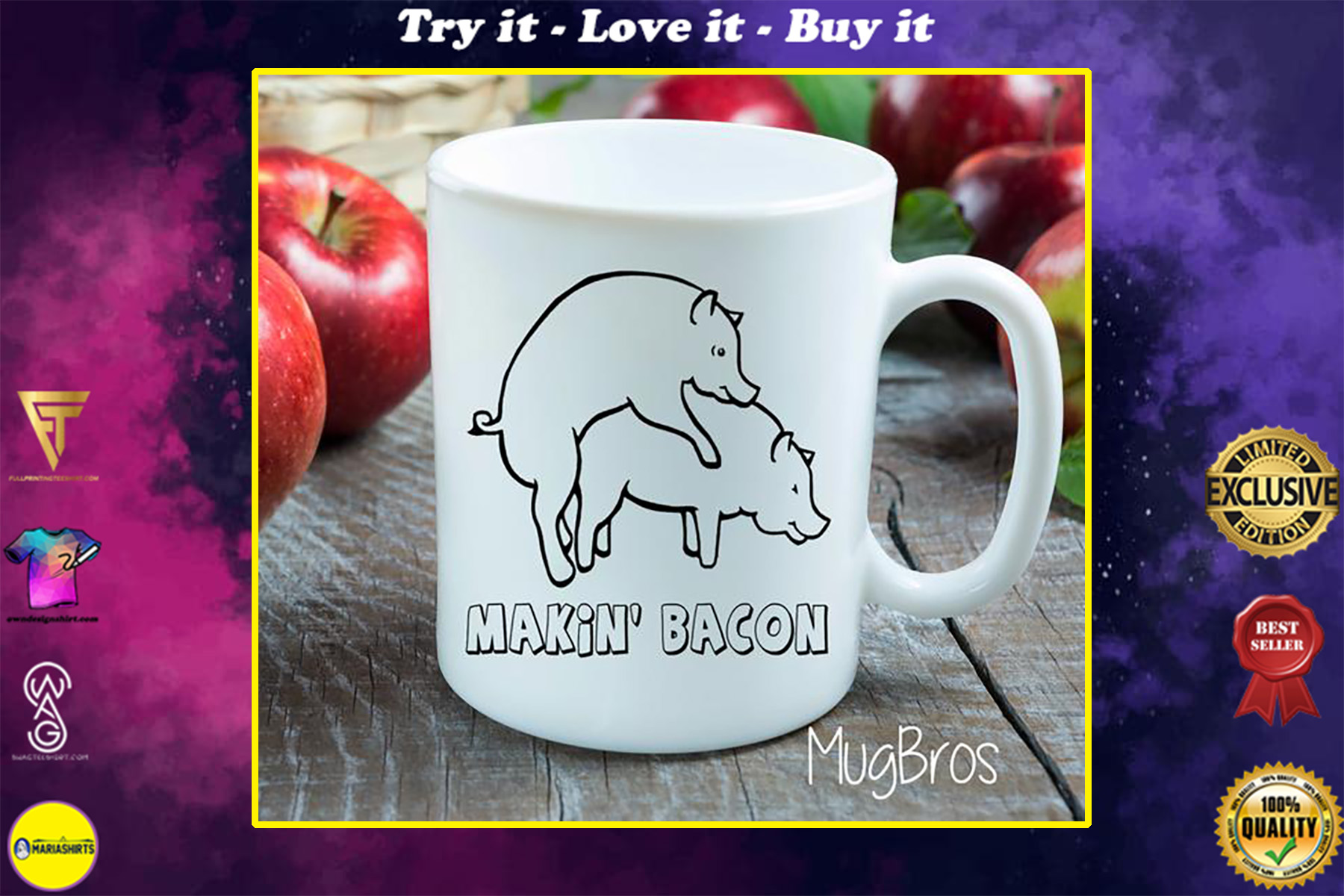 making bacon funny gift idea coffee cup
