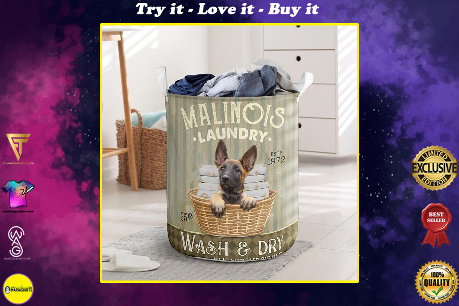 malinois dog all over printed laundry basket