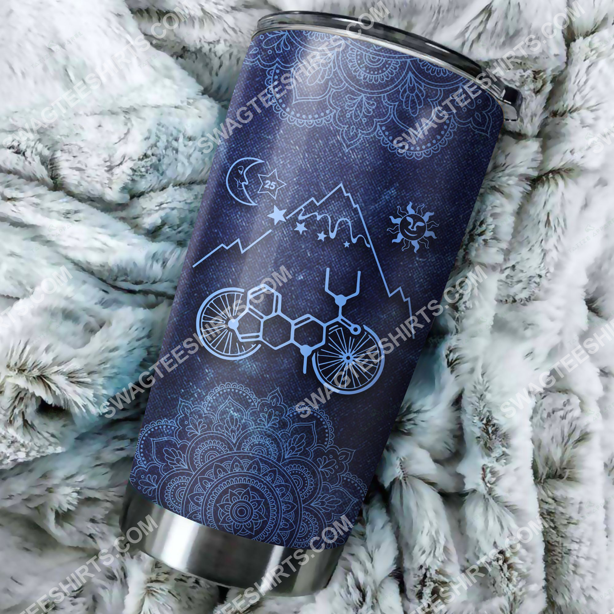 mandala lsd bicycle all over printed stainless steel tumbler 2(1)