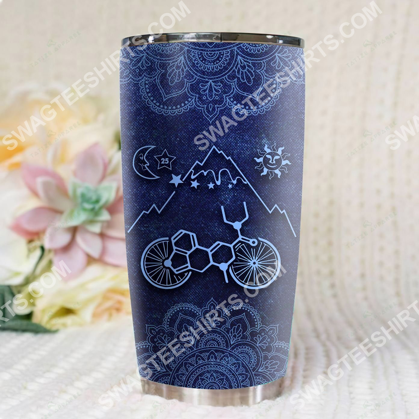 mandala lsd bicycle all over printed stainless steel tumbler 3(1)