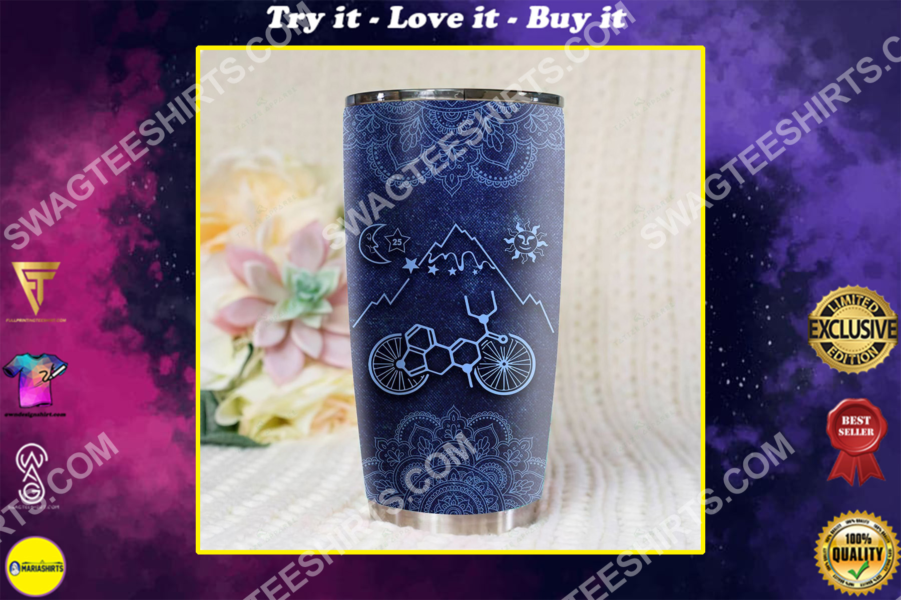 mandala lsd bicycle all over printed stainless steel tumbler