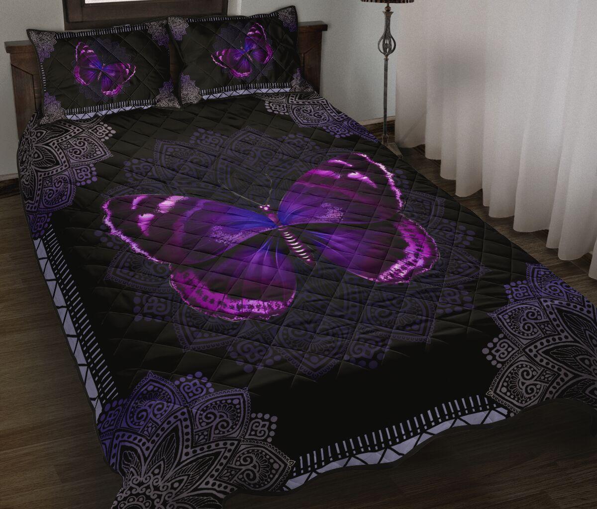 mandala version butterfly night full over print quilt 2