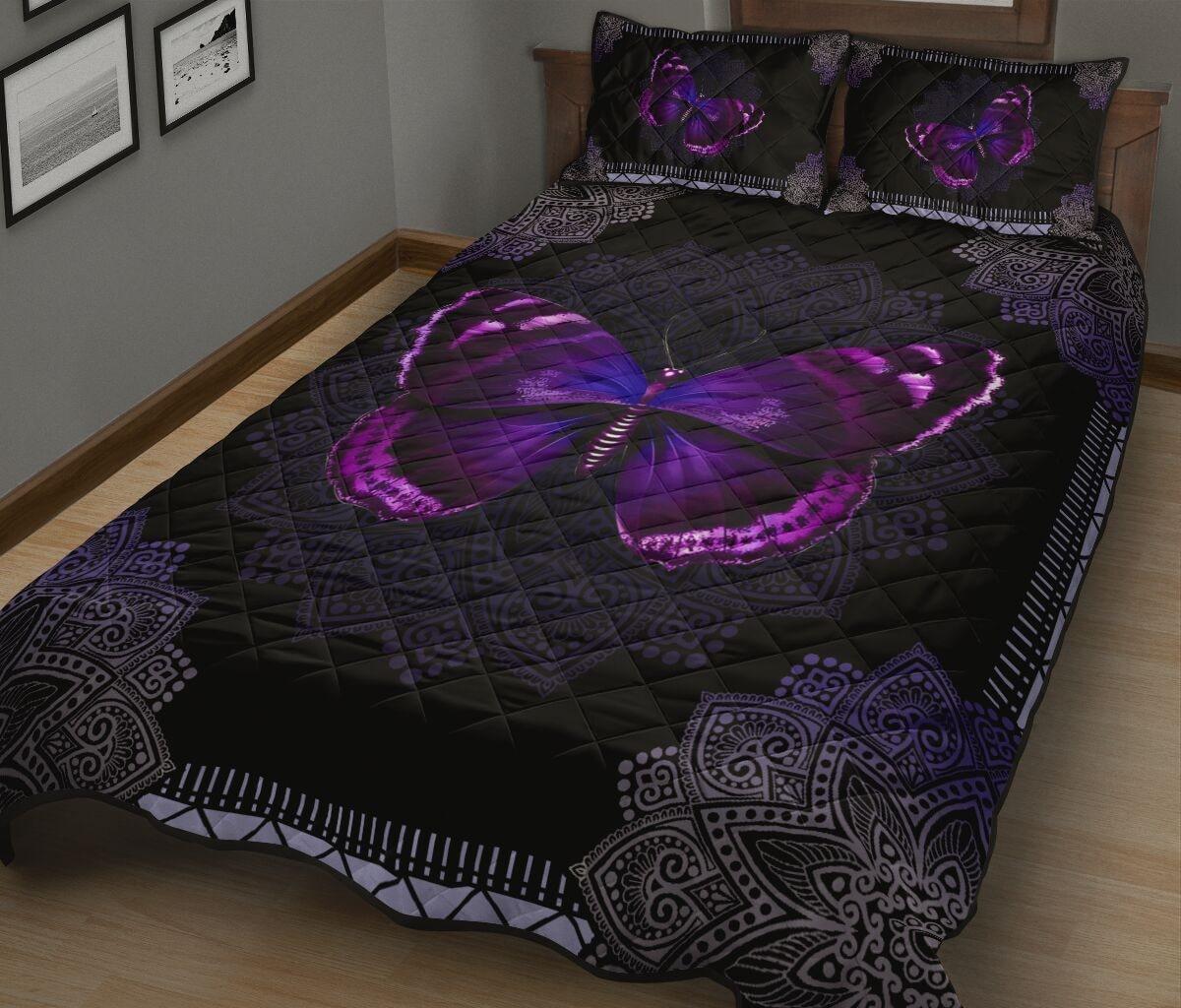 mandala version butterfly night full over print quilt 3