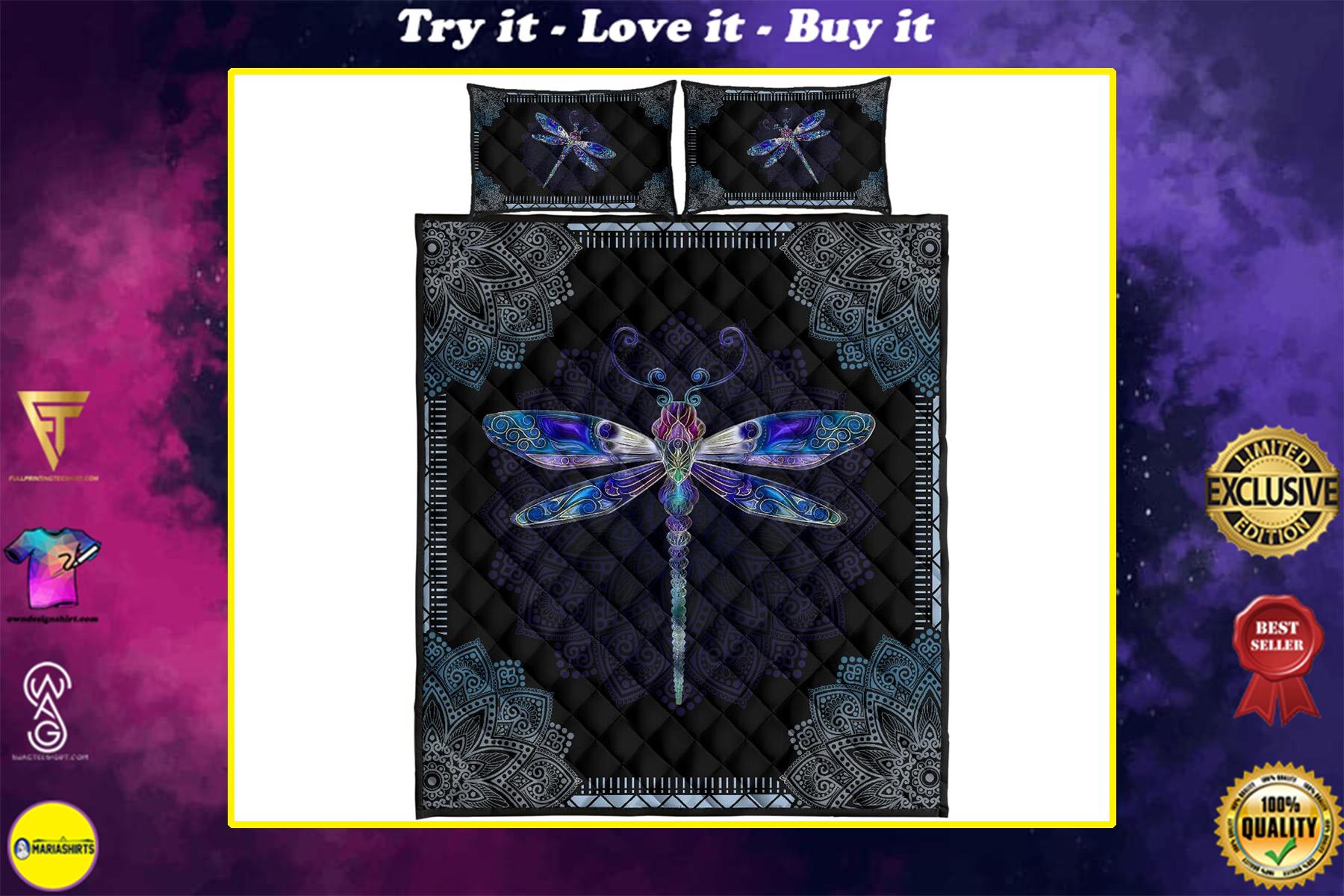 mandala version dragonfly full over print quilt