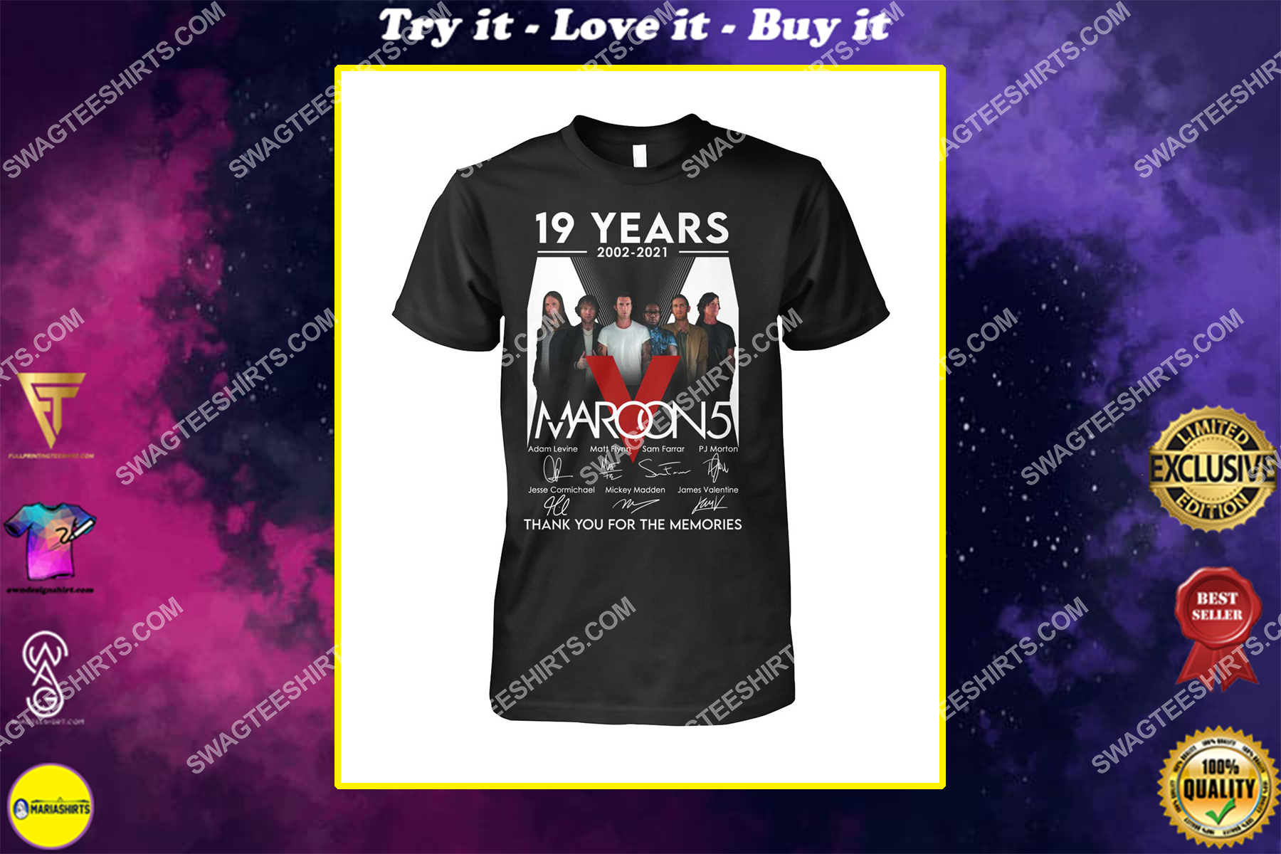 maroon 5 19 years thank you for memories signature shirt