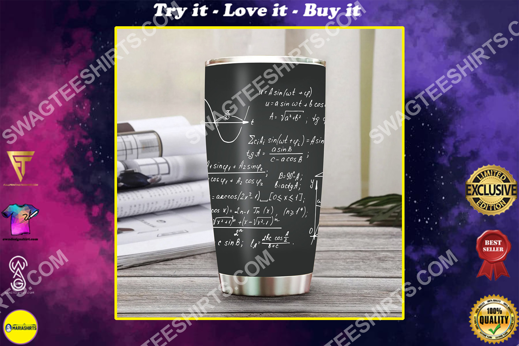 math formulas math lover all over printed stainless steel tumbler