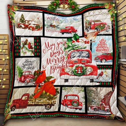 may your day be merry and bright christmas red truck quilt 2