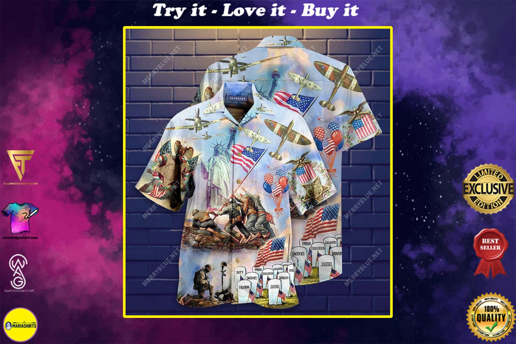 memorial veteran american all over printed hawaiian shirt