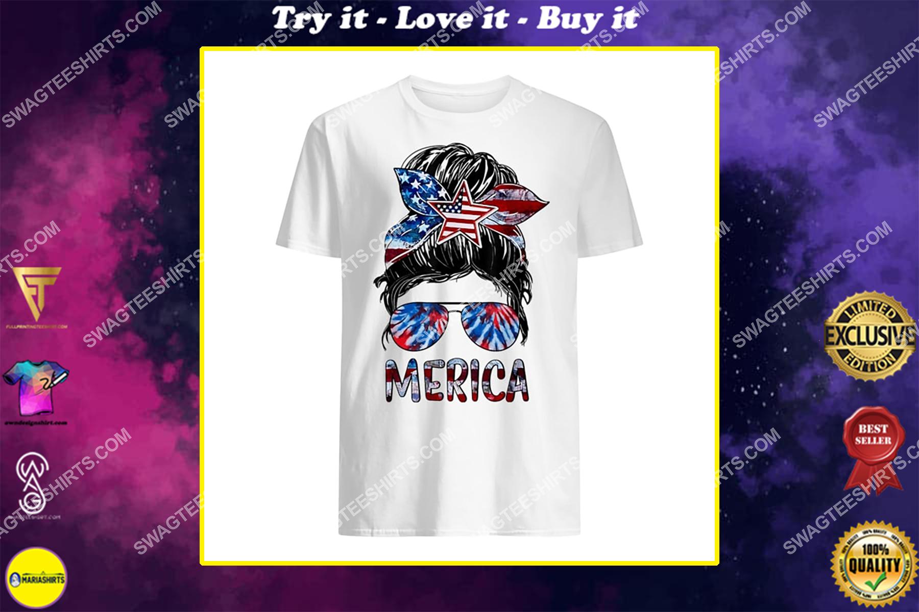 merica 4th of july messy bun american flag tie dye shirt